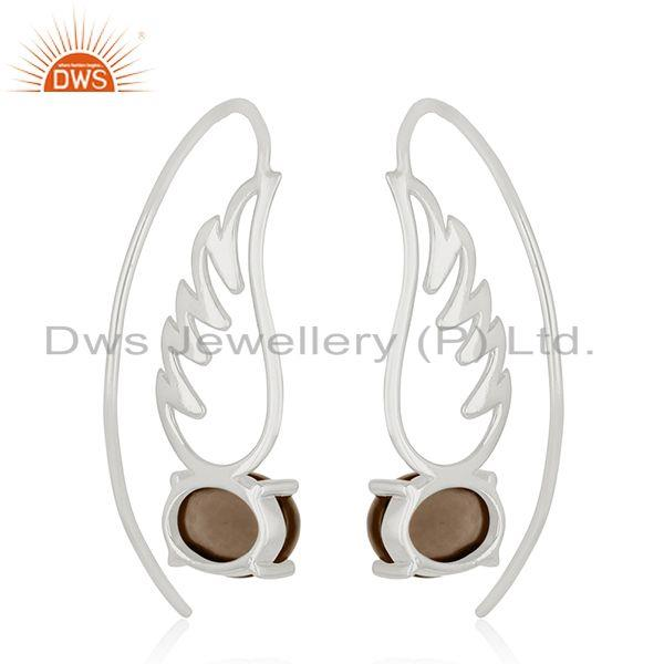 Suppliers 92.5 Sterling Fine Silver Angel Wing Design Gemstone Earring Wholesale Suppliers