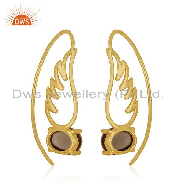 Suppliers Angel Wing Gold Plated 925 Sterling Silver Smoky Gemstone Earring Wholesaler