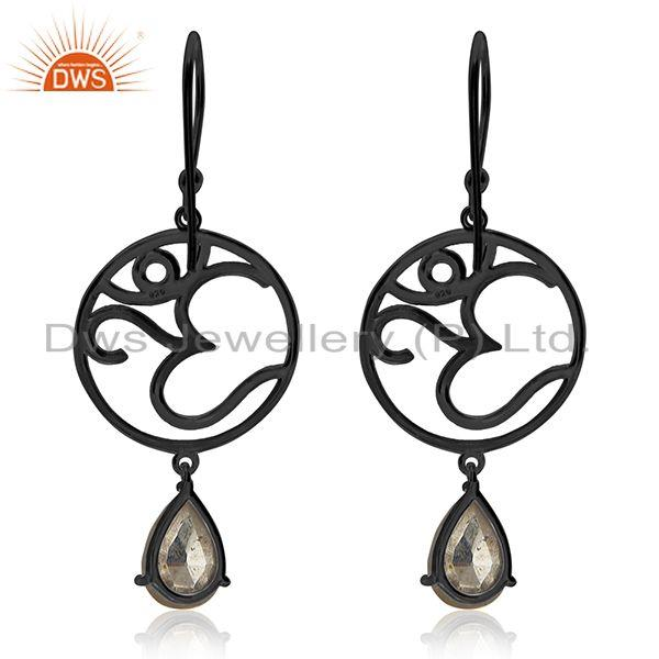 Suppliers Om Aum Charm 925 Silver Black Rhodium Plated Pyrite Gemstone Earrings Wholesale