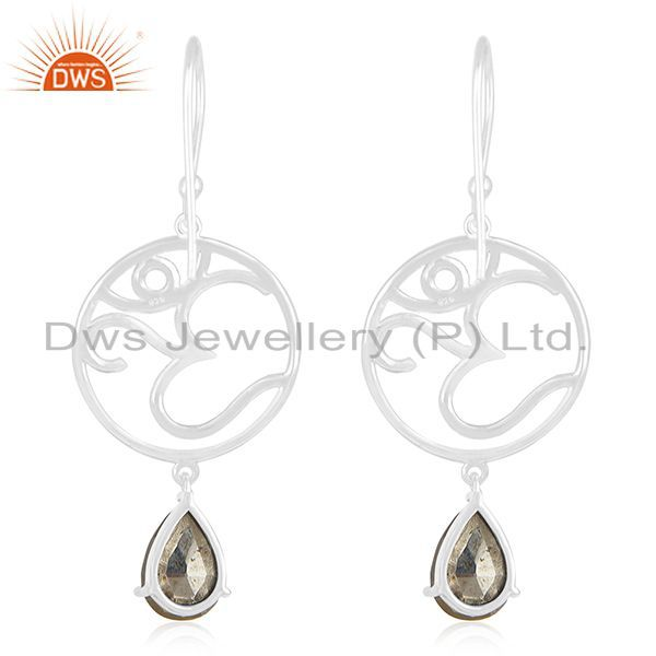Suppliers Fine Sterling Silver Om Charm Pyrite Gemstone Dangle Earring Manufacturers