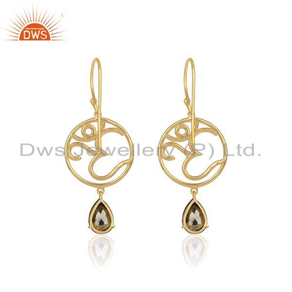 Designer of Holi om dangle earrings in yellow gold on 925 silver with pyrite
