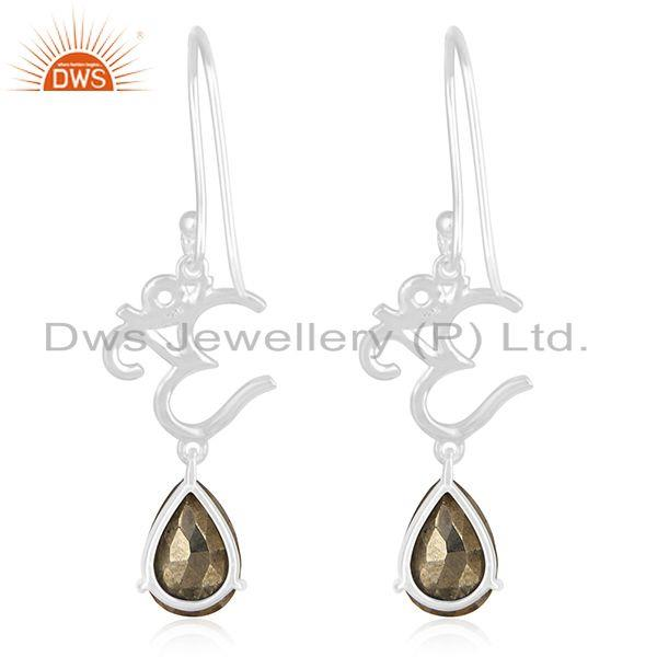 Suppliers Om Aum Charm 925 Fine Silver Pyrite Gemstone Earring Manufacturer of Jewelry