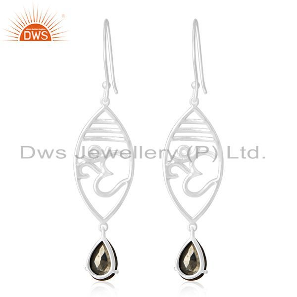 Suppliers Om Aum 925 Sterling Silver Pyrite Gmestone Charm Earring Manufacturer Jewelry