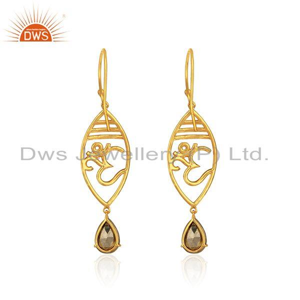 Designer of Designer om earrings in yellow gold on 925 silver with pyrite