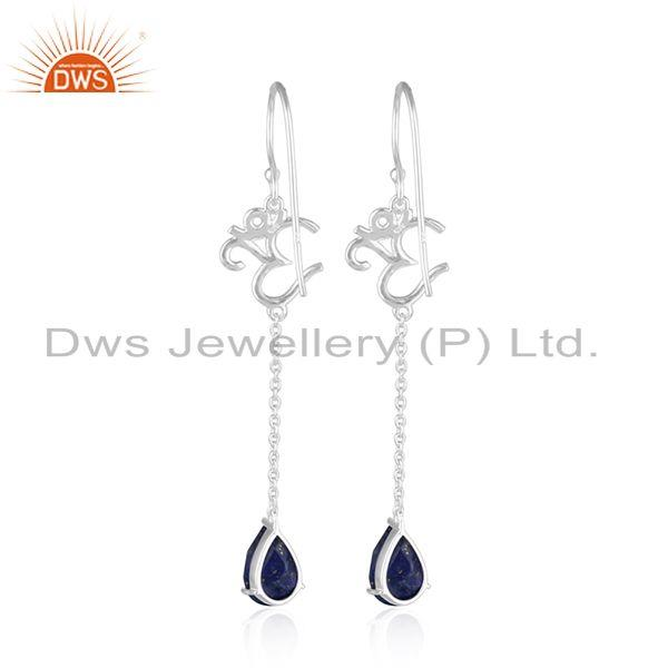 Suppliers Natural Lapis Lazuli OM Design Sterling Silver Dangle Earrings Jewelry