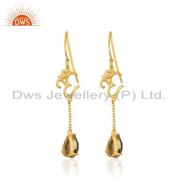 Designer of Holy om long earrings in yellow gold on 925 silver with pyrite