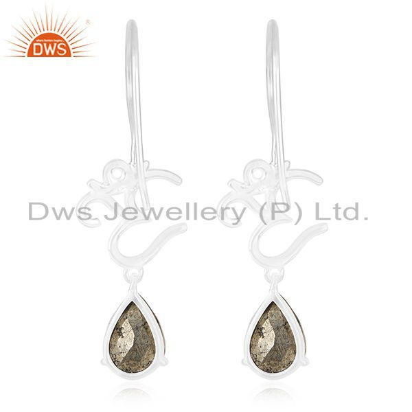 Suppliers Fine Sterling Silver Om Aum Charm Pyrite Gemstone Earring Manufacturer India