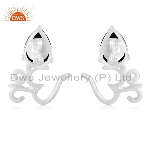 Suppliers Pyrite Gemstone 925 Fine Silver Om Aum Indian Religious Stud Earring Jewelry