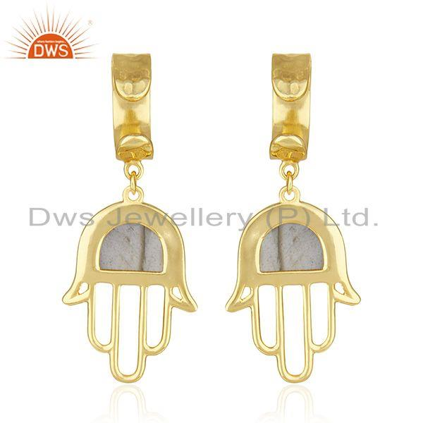 Suppliers Buddhism Hamsa Hand Gold Plated 925 Silver Labradorite Gemstone Earring Supplier