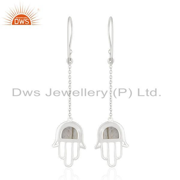 Suppliers Fine Sterling Silver Hamsa Hand Natural Gemstone Earring Manufacturer India