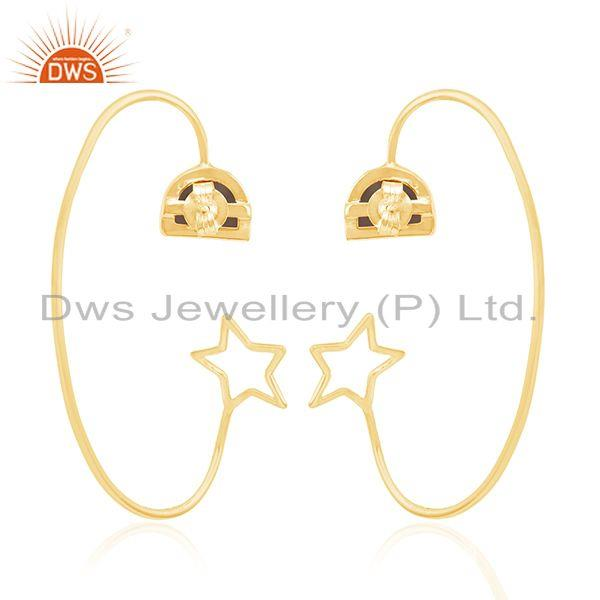Suppliers Star Design Yellow Gold Plated 925 Silver Tiger Eye Gemstone Earring Wholesaler