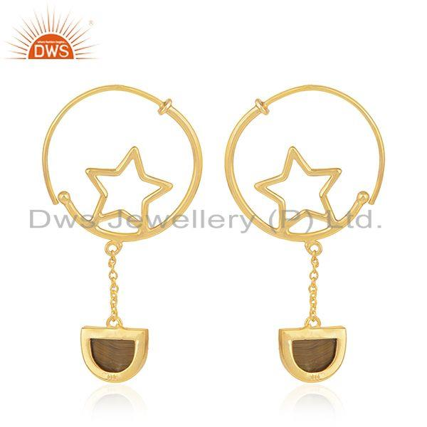 Suppliers 925 Silver Gold Plated Tiger Eye Gemstone Star Charm Hoop Earring Manufacturers