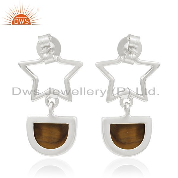 Suppliers Tiger Eye Gemstone Fine Sterling Silver Star Charm Earring Manufacturers