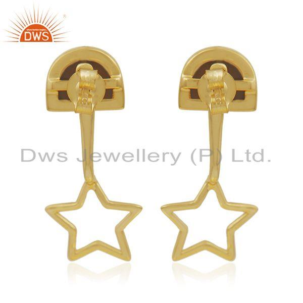 Suppliers Yellow Gold Plated 925 Silver Tiger Eye Gemstone Star Design Earring Wholesale