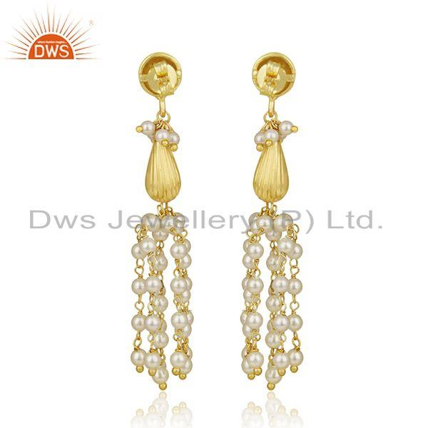 Suppliers Gold Plated 925 Silver Natural Pearl Traditional Earrings Manufacturer India