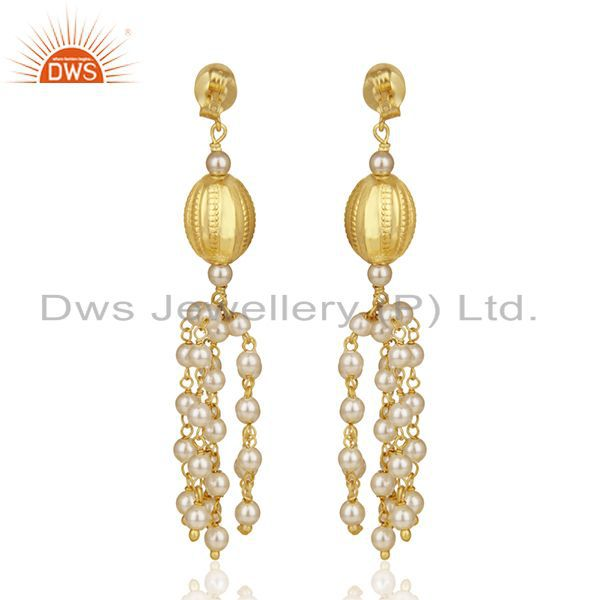 Suppliers Gold Plated 92.5 Sterling Silver Indian Traditional Chandelier Earring Supplier