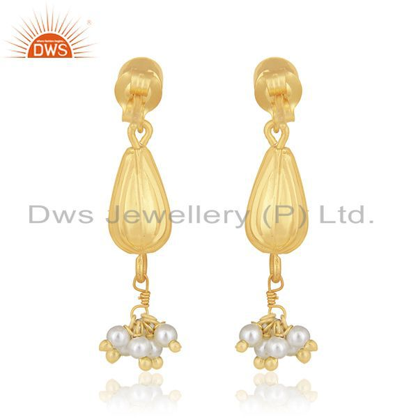 Suppliers 14k Gold Plated 925 Silver Natural Pearl Dangle Earring Manufacturer of Jewelry