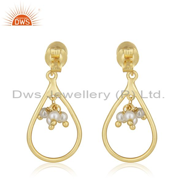 Suppliers Handmade 925 Silver Gold Plated Natural Pearl Earrings Jewelry For Womens