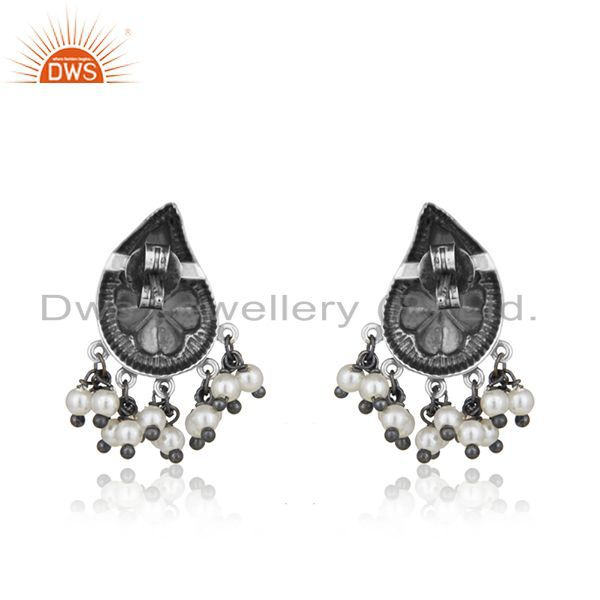 Suppliers Handcraved Floral Design 925 Silver Natural Pearl Designer Earrings Wholesale