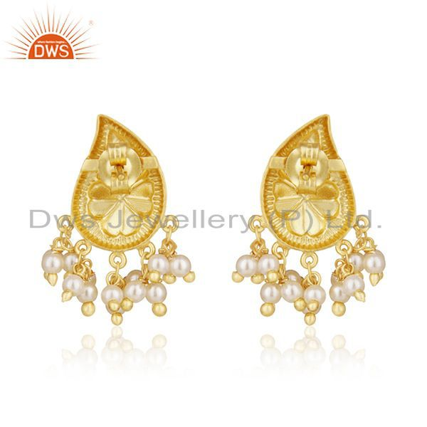 Suppliers 14k Gold Plated Handcraved 925 Silver White Pearl Earrings For Wedding Jewelry