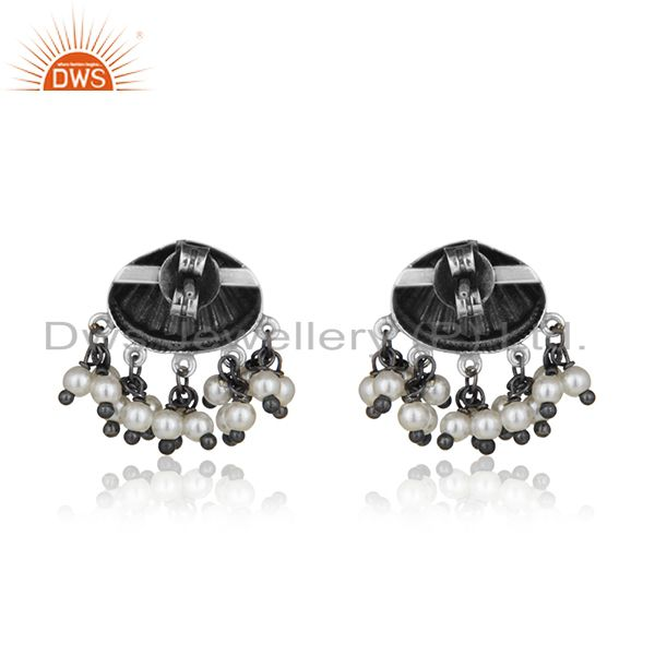 Suppliers Oxidized 925 Silver Handcrafted Designer Natural Pearl Earring Manufacturer