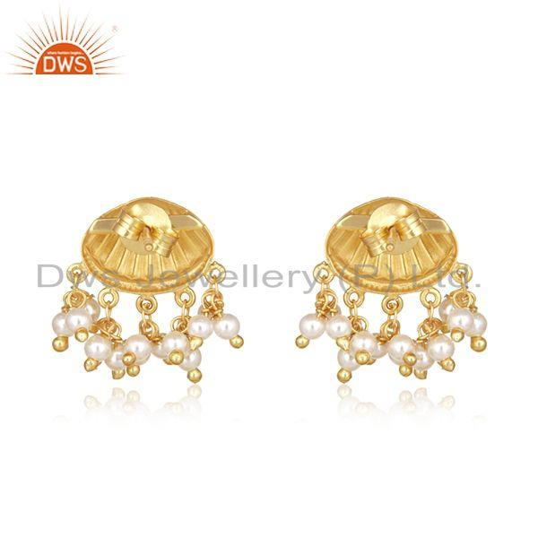 Suppliers Natural Pearl Gold Plated 925 Silver Handcrafted Earrings Manufacturer India