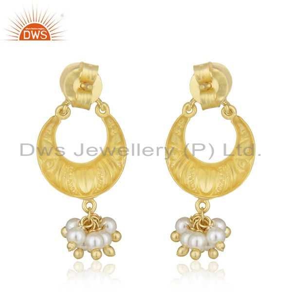 Suppliers Handcrafted 925 Silver Gold Plated White Pearl Earrings Wholesale Jewelry Spply