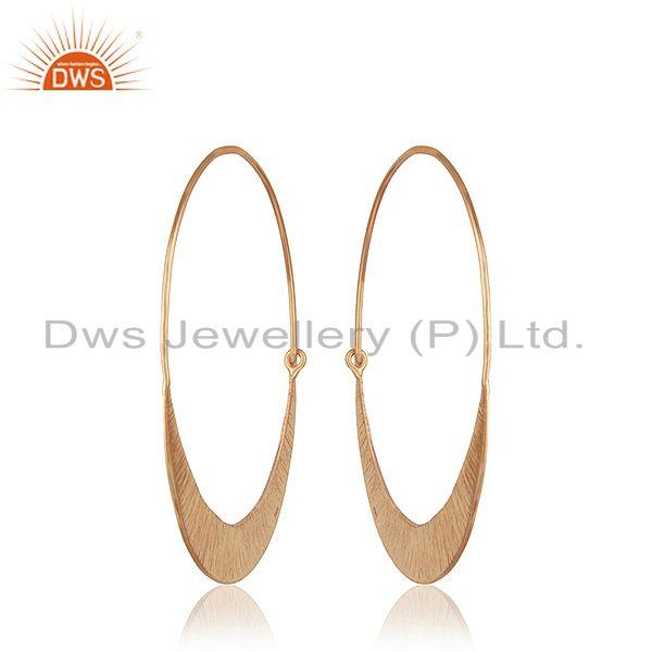 Suppliers Handmade Rose Gold Plated 925 Silver Simple Hoop Earrings Jewelry for Girls