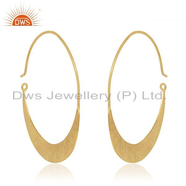Suppliers 14k Gold Plated Handmade 925 Sterling Silver Half Moon Hoop Earring Manufacturer