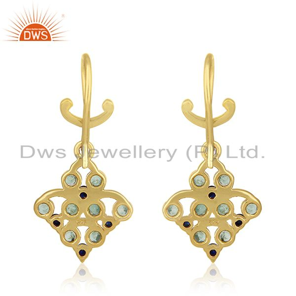 Suppliers Gold Plated 925 Silver Emerald and Blue Sapphire Birthstone Earrings Manufacture