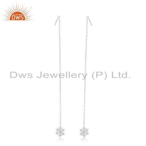 Suppliers 92.5 Sterling Fine Silver Handmade Chain Designer Dangle Earrings Manufacturer