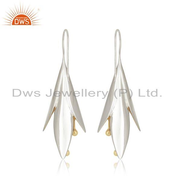 Suppliers White and Gold Plated Sterling Silver Designer Earrings Wholesale
