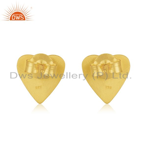 Suppliers Heart Shape 925 Sterling Silver Gold Plated Cz Stud Earrings Manufacturer India