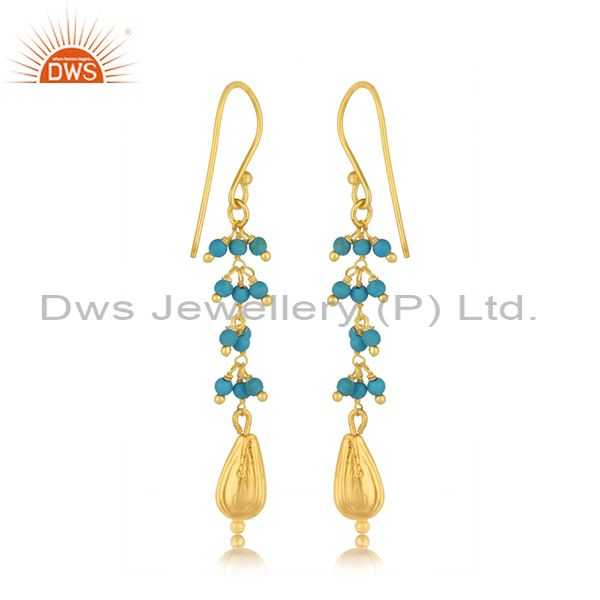 Suppliers Silver Gold Plated Natural Turquoise Gemstone Earring Jewelry Manufacturer