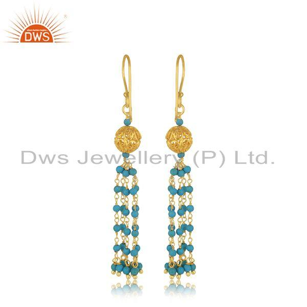 Suppliers Designer Silver Gold Plated Turquoise Gemstone Earring Jewelry Supplier