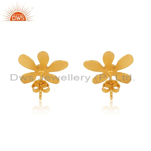 Suppliers Gold Plated 925 Silver Green Onyx Gemstone Leaf Stud Earrings Manufacturer India