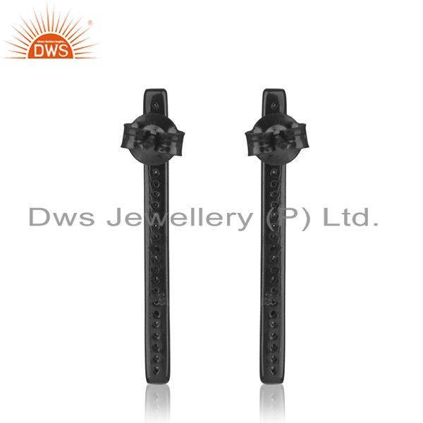Suppliers Liner Shape Black Rhodium Plated 925 Silver Earring Jewelry Supplier