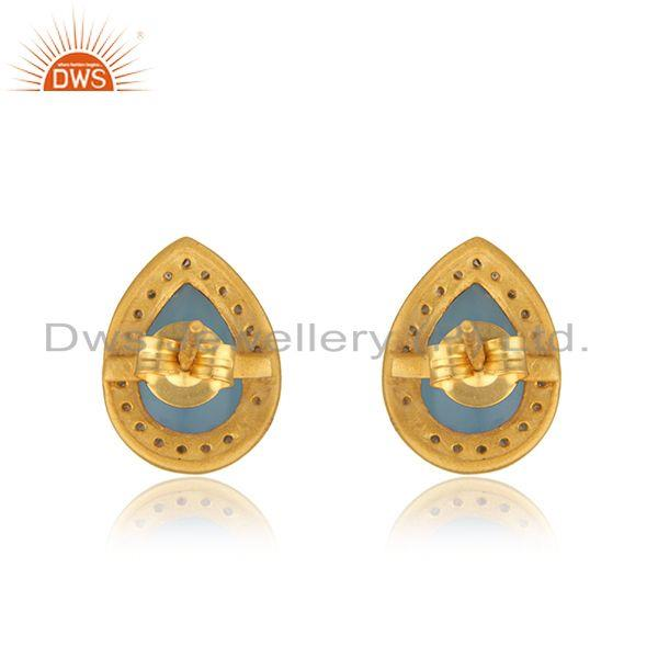 Suppliers Blue Chalcedony Gemstone 925 Silver Gold Plated Stud Earrings Wholesale India