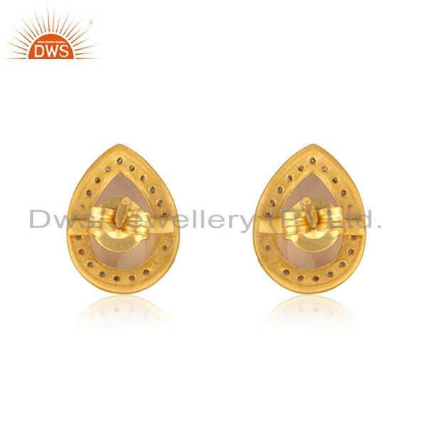 Suppliers Rose Chalcedony Gemstone 925 Silver Gold Plated Stud Earrings Wholesaler Jaipur