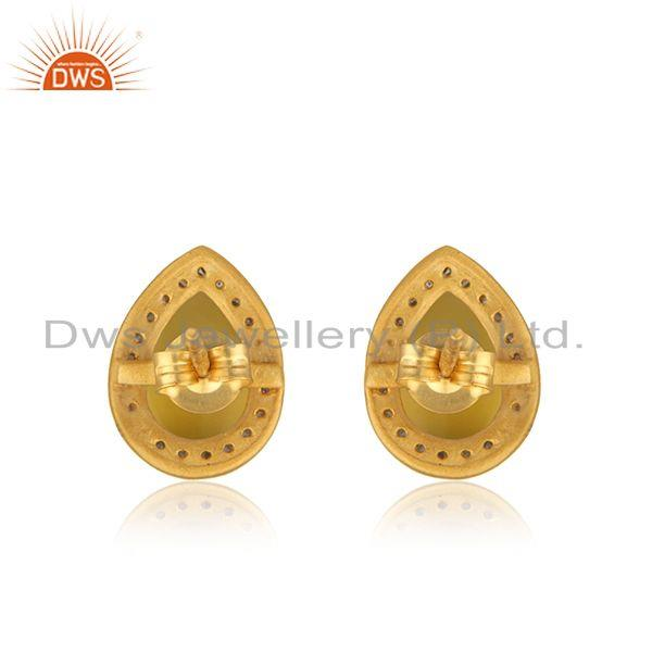 Suppliers Yellow Chalcedony Gemstone 925 Silver Gold Plated Stud Earring Wholesaler India