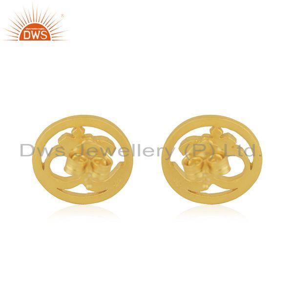Suppliers Designer Gold Plated OM Charm Plain Silver Stud Earring Jewelry