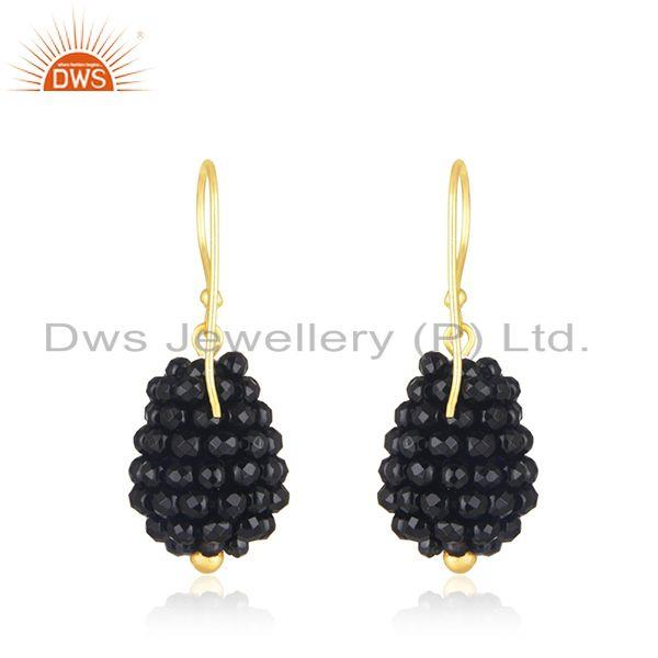 Suppliers Black Onyx Beaded Gemstone Gold Plated Silver Earrings Jewelry