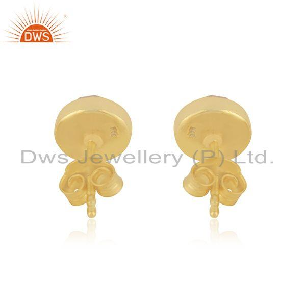 Suppliers Girls Gold Plated Silver Rose Quartz Gemstone Stud Earrings Jewelry Supplier