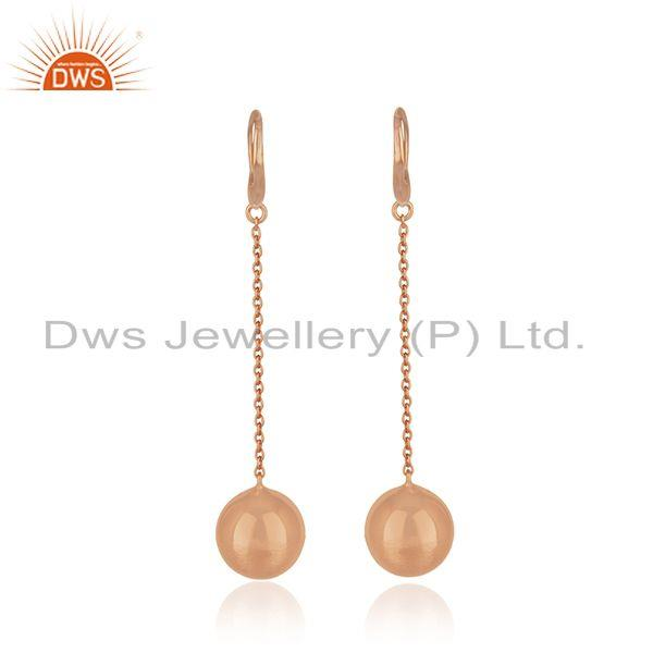 Suppliers Rose Gold Plated Designer Silver Girls Chain Earrings Jewelry