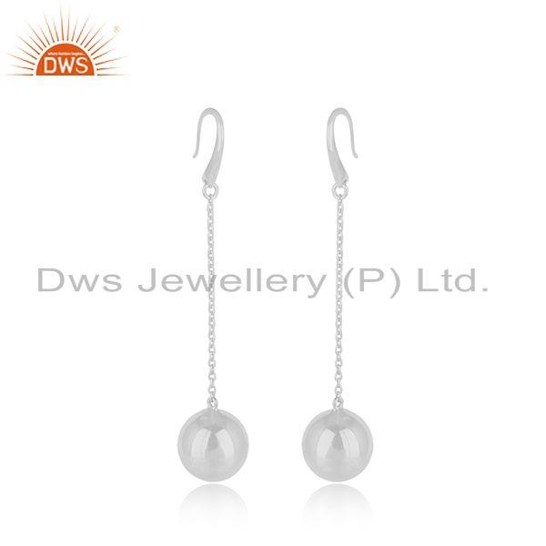 Suppliers White Rhodium Plated Silver Chain Earrings Designer Jewelry For Girls