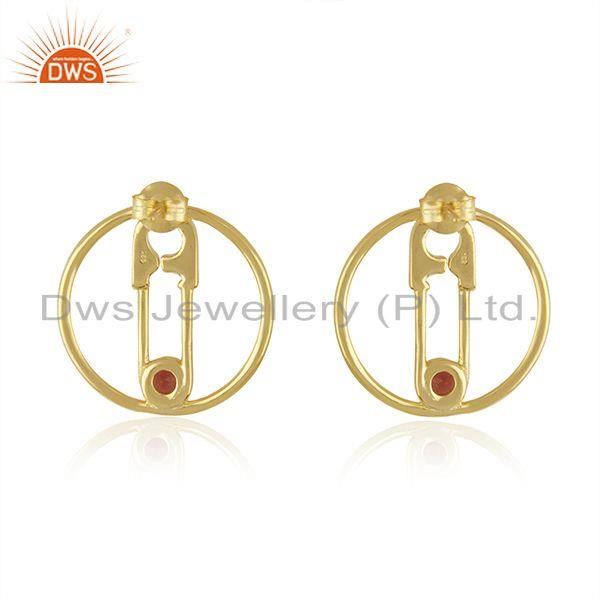 Suppliers Natural Garnet Gemstone Pin Design Gold Plated 925 Silver Earring Jewellery
