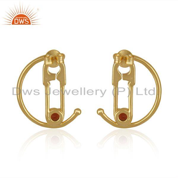 Suppliers Garnet Gemstone Gold Plated 925 Silver Pin Design Customized Earring Supplier