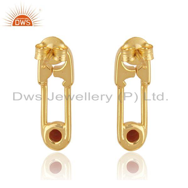 Suppliers 18k Gold Plated Sterling Silver Garnet Gemstone Pin Design Earrings Manufacturer