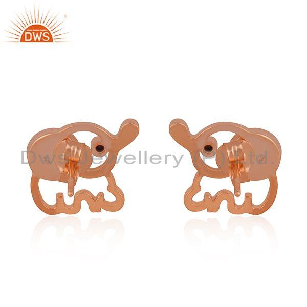 Suppliers Rose Gold Plated 925 Silver Elephant Design Pearl Stud Earring Manufacturer