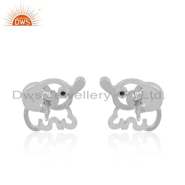 Suppliers Custom Elephant Design 925 Silver Pearl Stud Earring Manufacturer India